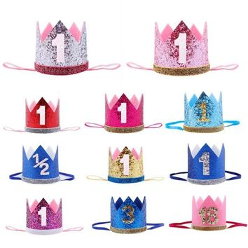 Baby Girl First Birthday Party Hats Decor Cap Hairband Glitter Princess Queen Crown Headband 1st 3rd 18th Hair Accessories Favor