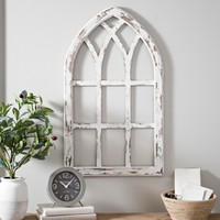 Antiqued White Window Pane Arch Plaque | Kirklands