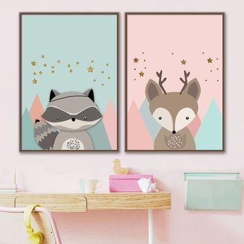 Cartoon Deer Raccoon Star Nordic Posters And Prints Canvas Painting Wall Art Print Animals Wall Pictures Baby Kids Room Decor