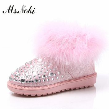 women real fur crystal snow boots 2016 winter rhinestone ankle boots fashion ladies wa