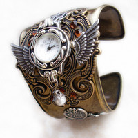 Steampunk Watch Brass and Silver by Aranwen on Etsy