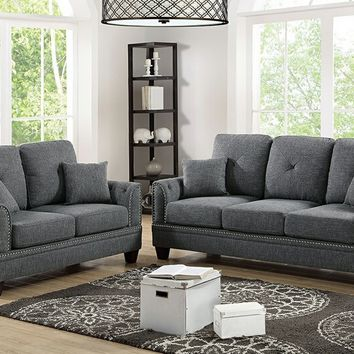 Poundex F6507 2 pc Pallisades collection ash black cotton blended fabric upholstered sofa and love seat set with nail head trim