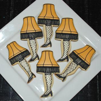 A Christmas Story: Leg Lamp Cookies - One Dozen Decorated Sugar Cookies