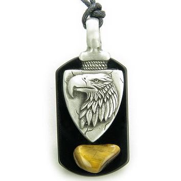 Arrowhead Eagle Tag Amulet Black Onyx And Tiger Eye Necklace