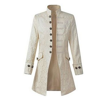 Men Steampunk Jacket Velvet Goth Victorian Frock Coat