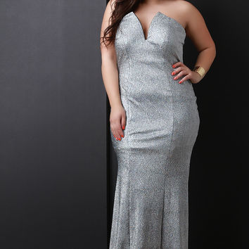 Sweetheart Hologram Glitter Maxi Dress