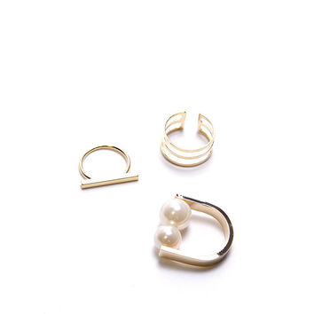 Charming Three Rings - Pearl/Gold