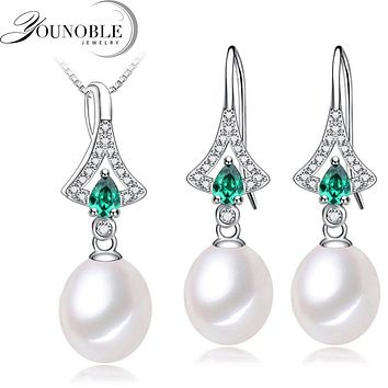 Freshwater Pearl jewelry set for women,Rring earring sets 925 sterling silver jewelry girl anniversary trendy gift necklace 45cm
