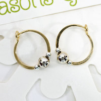 "Gold filled hoop earrings one main silver bead surrrounded by two smaller beads classic 1/2"" endless round handmade"