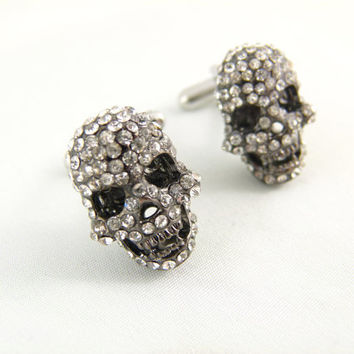 White Rhinestone Skull Gunmetal Cuff Links by angelyques on Etsy