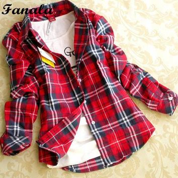 Women's Autumn Winter Cotton Long-sleeved Plaid Shirt Flannel Blouses