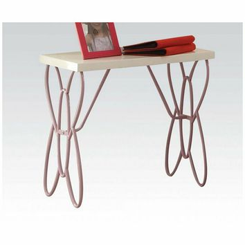 Priya collection butterfly shaped white / light purple finish metal nightstand