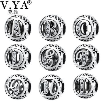925 Sterling Silver Letter Charms Beads fit Bangle Bracelet Letter A to I