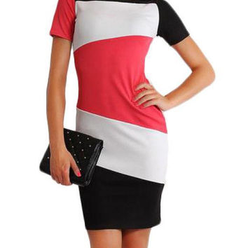 Short Sleeve Color Blocking Mini Pencil Dress