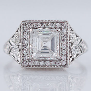 Antique Engagement Ring Art Deco Era 1.14ct Asscher Cut Diamond In Platinum