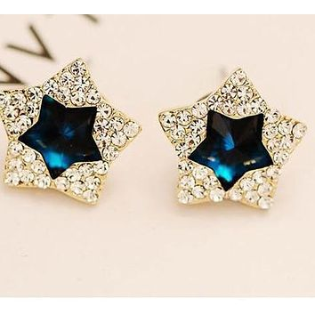 Rhinestone Police Support Star Stud Earrings