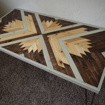 Repurposed Wood Coffee Table With Hairpin Legs   Handcrafted Geometric  Wheat Husk Design Table With Midcentury Part 85