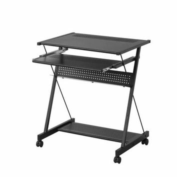 Black finish metal frame and black wood finish shelves computer small student desk with keyboard tray