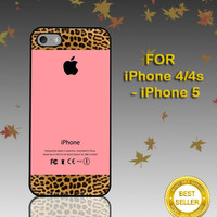 Apple Pink and Leopard Print - Photo on Hard Cover - For iPhone Case ( Select An Option )
