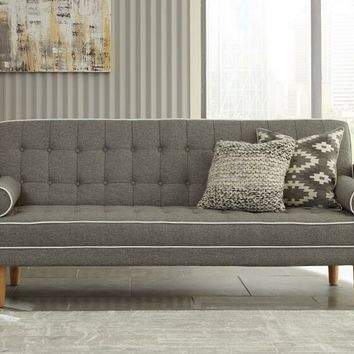 Luske collection grey and white woven fabric upholstered sofa futon bed with tufted backs
