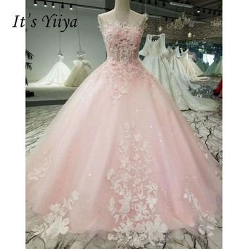 It's Yiiya Pink Floral Print Backless Appliques Luxury Floor Length Wedding Dress Bride Gowns Vestidos De Novia Casamento XNE248