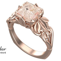 Flower Engagement Ring,Unique Engagement Ring,Morganite Engagement Ring By Vidar Botique,Floral Engagement Ring,Vintage Ring,Leaves Ring