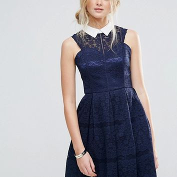 Chi Chi London Structured Lace Skater Dress With Contrast Collar at asos.com