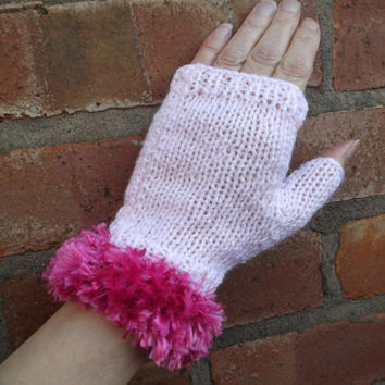 Pink glitter fingerless gloves with bright pink faux fur trim - one size