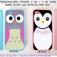 Personalize CUTE BLUE OWL PINK PENGUIN Monogram Custom Case For iPhone 7 6S SE S