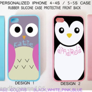 Personalize CUTE BLUE OWL PINK PENGUIN Monogram Custom Case For iPhone 6S 5S 5C