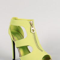 Qupid Cut Out Zip Up Peep Toe Bootie