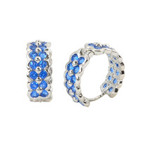 Sterling Silver Huggie Hoop Earrings 2 Row Blue CZ 16mm x 6mm