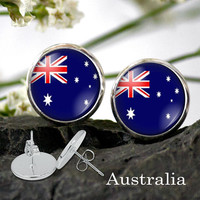 Australian Flag stud Earring - Australia national flag earring Silver Plated Stud Earrings 12 or 10 mm dia
