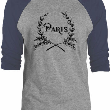 Big Texas Paris Wreath 3/4-Sleeve Raglan Baseball T-Shirt