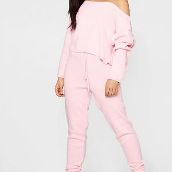 Ivy Heavy Knitted Slash Neck Lounge Set | Boohoo