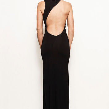 LAUREN - Grecian Backless Asymmetric Jersey Maxi Wedding Prom Dress Gown (Helmut Lang, Ralph Lauren, Michael Kors, BCBG, Gucci, Versace)