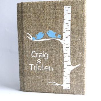 Wedding rustic old style photo album burlap Linen Bridal shower anniversary Blue birds on white birch tree