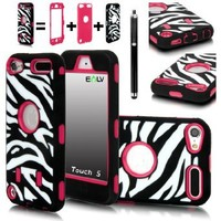 iPod Touch 5 Case, E LV iPod Touch 5 Case - Hard and Soft Hybrid Armor Defender Sports Combo Case for Apple iPod Touch 5 iTouch 5th Generation with 1 Screen Protector, 1 Black Stylus, 1 Water Resistant Bag and 1 E LV Microfiber Digital Cleaner (Zebra Hot P