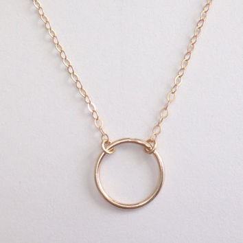 Circle - goldfilled ring necklace, minimalist, simple, modern, karma necklace