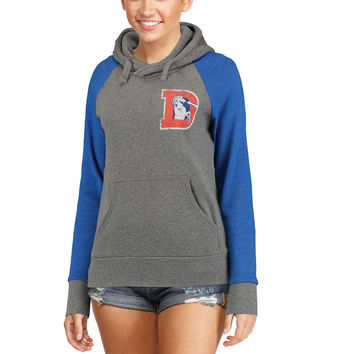 Women's Denver Broncos NFL Pro Line Heathered Gray Timeless Lounge Script Tri-Blend Pullover Hoodie