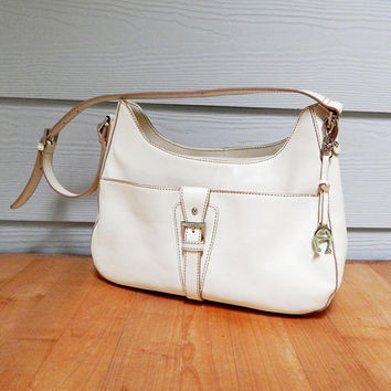Vintage Leather Etienne Aigner Shoulder Purse, Cream Leather
