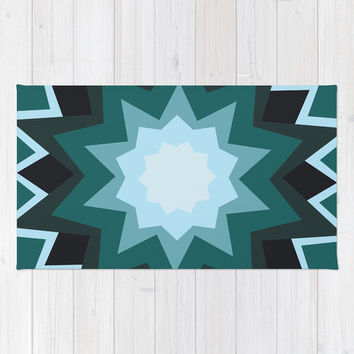 Teal Geometric Flower Area & Throw Rug by KJ53321 | Society6