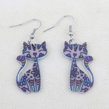 DCCKIX3 Bonsny Cute Lovely Cat   Earrings Acrylic Printing Patterns 2015 New Design Drop Earrings For Girls Woman Jewelry (Color: Multicolor)