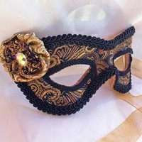 Leather and Paisley Brocade Masquerade Mask on Handmade Artists' Shop