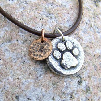 Little Paw Print Mixed Metal Necklace Personalized With Initial Pewter Copper Hammered Texture Rustic Jewelry Pet Lovers Pet Memorial