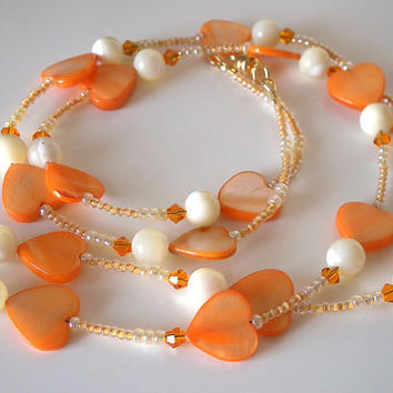Beaded ID Lanyard Dreamsicle Orange and Cream Hearts Mother of Pear