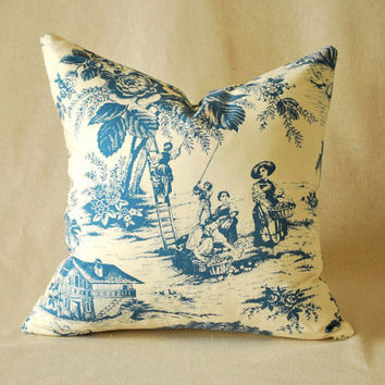 "Vintage Pillow Cover Blue and Cream Toile 16""x16"""