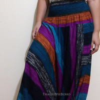 Colors Stripe Way Harem Pants Hippy Hippie / Aladdin Pants/ Genie Pants (Blue-Purple)