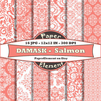 Salmon Pink Damask Digital Paper Pack - Printable Backdrops for Scrapbooking - Instant Download