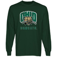 Ohio Bobcats Distressed Primary Long Sleeve T-Shirt - Green